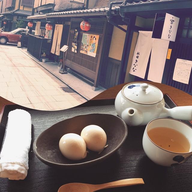 友達におすすめしてもらった『きなな』ひと口食べた瞬間からきな粉の風味が!出来たてのきなこアイス美味しかったー #京都 #きなな #きなこアイス #ほうじ茶