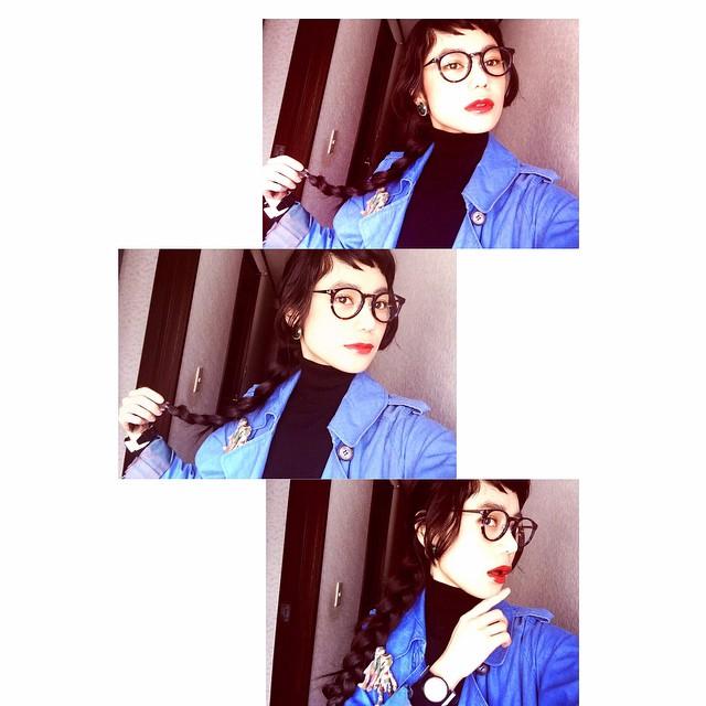 三つ編み〜〜〜 #IZUMIsfashion #fashion #hair #zoff #めがね #黒髪 #三つ編み #ヘアアレンジ #marni #tabasa