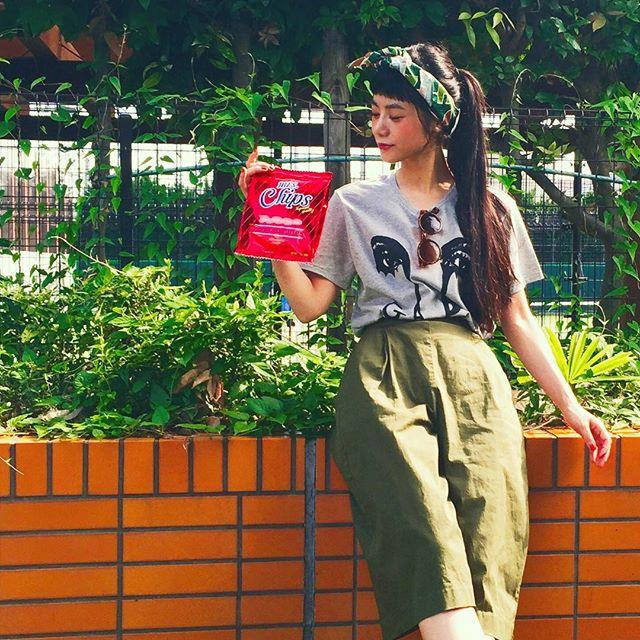 実はポテチの形をした,これもポーチ〜️♡♡♡ #@accommode #potatochips #porch #fashion #coordinate #girl #snap #accommode