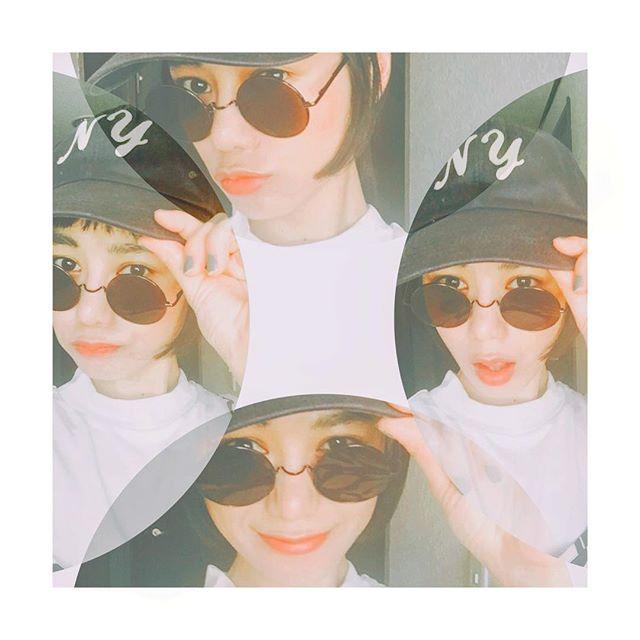 CAP × Sunglasses.♡♡♡日焼け防止には帽子ね️ #fashion #ootd #cap #gu #sunglasses #emoda #street #style #coordinate
