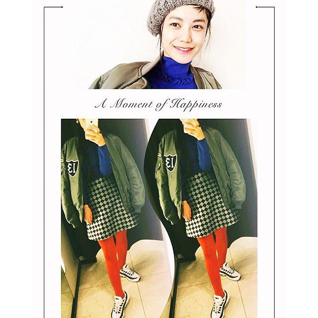 やっとMA-1が着れたメンズのLサイズで、ゆったりが今の気分♡♡♡ #IZUMIsfashion #ootd#outfit#knit#mademoiselletara #ma1#skirt#nike#sporty #wear