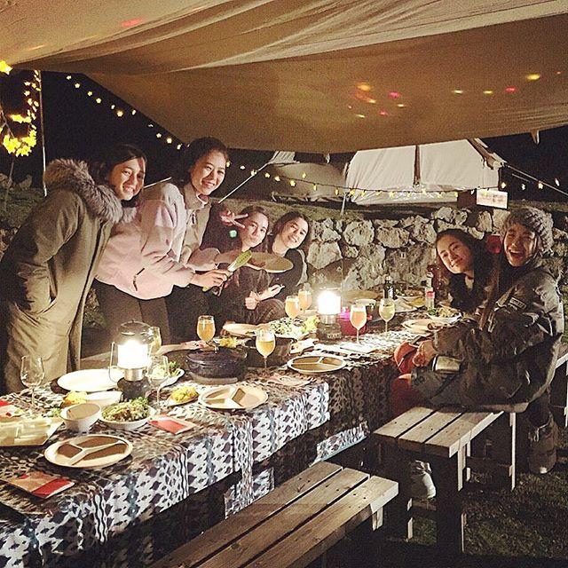 彩菜ちゃん@catserval 主催のグランピング️♡自然と、美味しい新鮮な野菜と、可愛いみんな👭と素敵な時間を過ごせて幸せ本当にありがとう...#ellegirlcamp #ellegirl#グランピング#アクアヴィレッジ#models#dinner