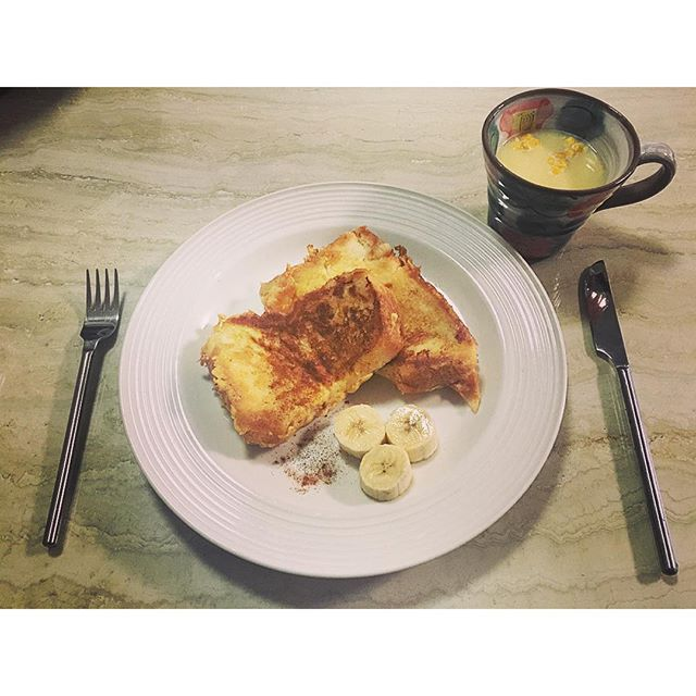 break fast.️...#home#cooking#breakfast#frenchtoast