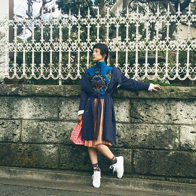 早くも春コーデ。トレンチはGUで。Mixコーデがやっぱり好き。♡...#IZUMIsfashion #spring #outfit #ootd_with @gu_global #GU_PR #GUTL #kenzo#marni#japan