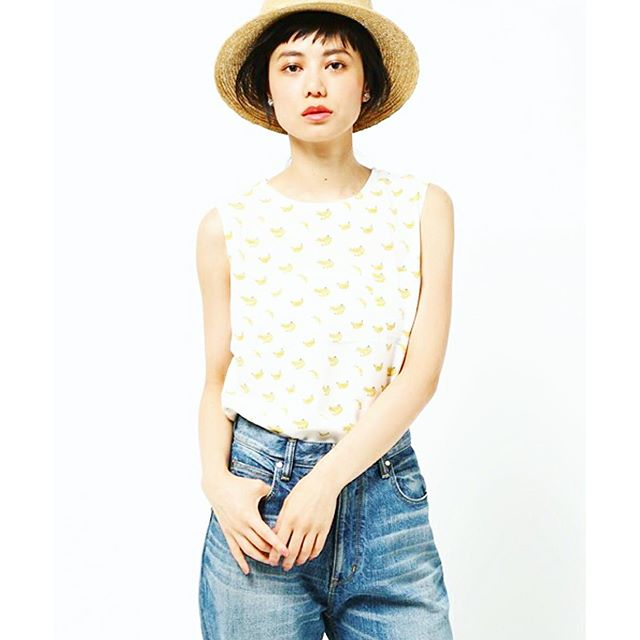 banana柄.♡、、、#summer #ships #karju #fashion #coordinate #denim #hat #make #hair