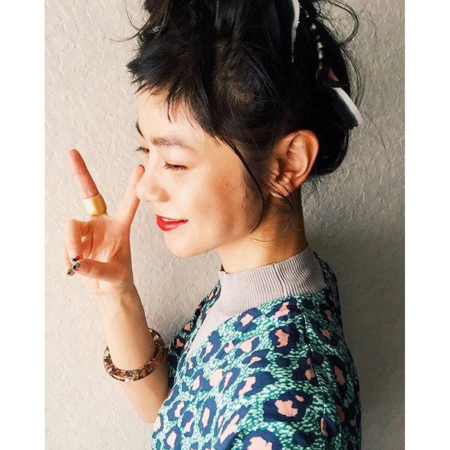 hair accessoryは、リボンを巻いた簡単コーム。全身はWEARにUPしたよ!#izumisfashion #hair #self #diy #hm