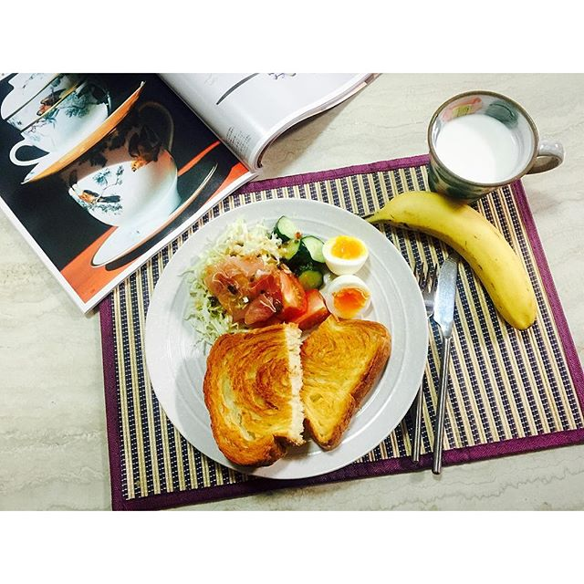 (ランチマットは100均だよ)#goodmorning #homecooking #breakfast
