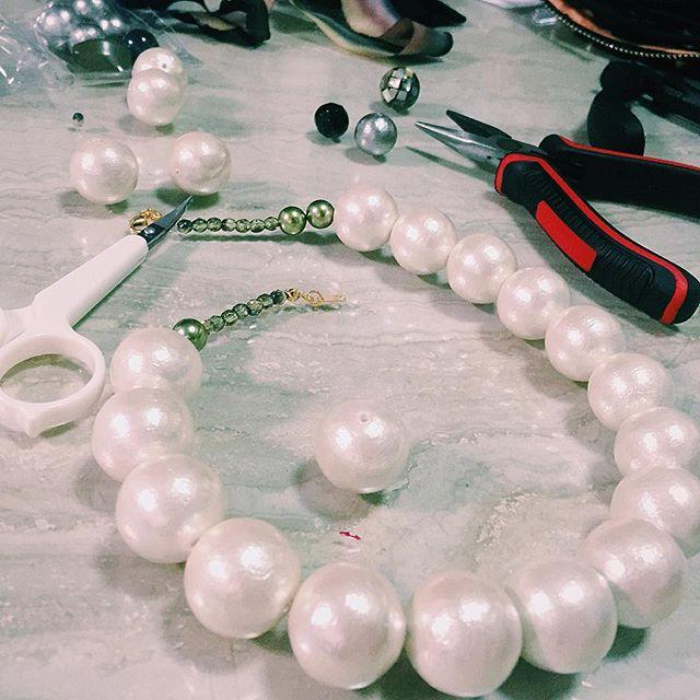 コットンパールのネックレス🏼完成️#izumisfashion #diy#accessories #cottonpearl