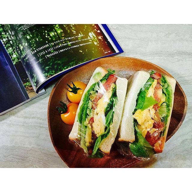 GM.🌤🌤🌤今朝は、昨夜作っておいたサンドイッチを♡さぁ今日も元気に〜!#gm #homecooking#breakfast #sandwich