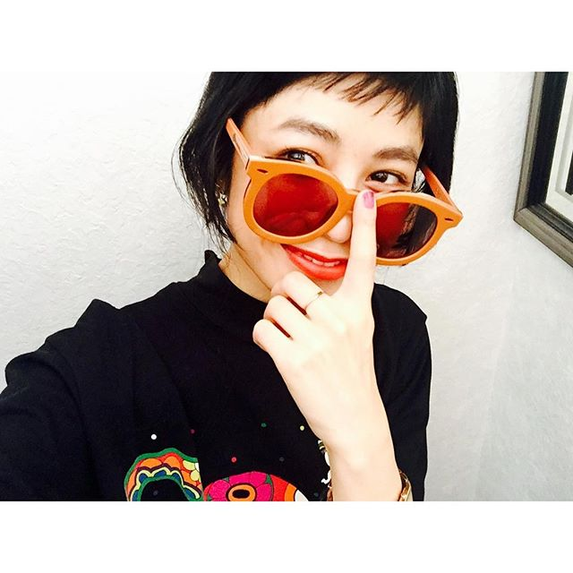 #izumisfashion #yesterday#summer #sunglasses #orange #nail #lip