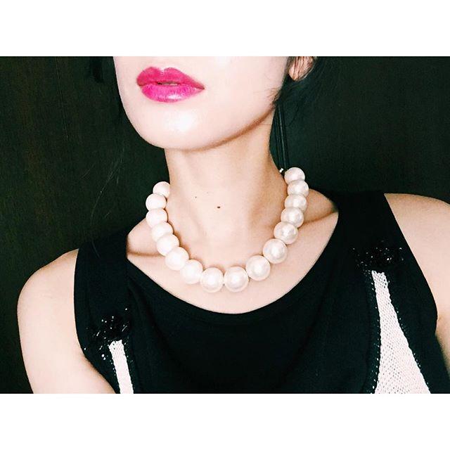 この前作ったコットンパールのネックレス️カジュアルに使いたい.#izumisfashion #diy #accessories #cottonpearl #lip