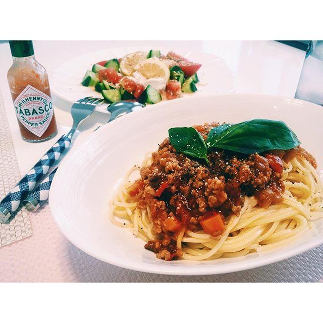 .おねぇちゃん作のmeat sauce pasta.とってもすき。♡#pasta #meatsauce #lunch
