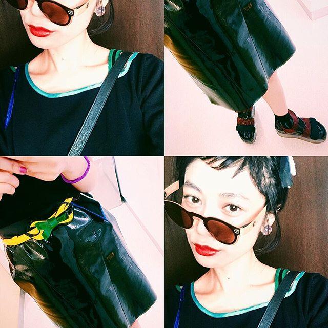 エナメルスカートが好評だった日ベルトは @cry_tokyo のsaleでまさかの¥500だったから,即Getしたやつ.#izumisfashion #hair #makeup #self#black #coordinate #cry#japan #girl #summer #lip