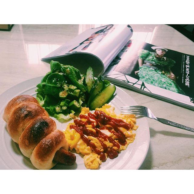 .今朝のごはん#breakfast #bread #home#morning #egg #vegetables